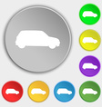 Jeep icon sign Symbol on five flat buttons vector image vector image