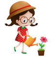 little girl watering flower vector image vector image