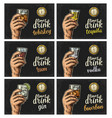 male hand holding a glasses with drink and antique vector image vector image