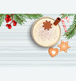 merry christmas celebration with hot eggnog vector image
