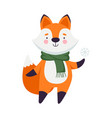 orange fox as christmas character in warm scarf vector image