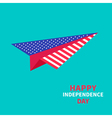 Paper plane with stars and strips independence day vector image vector image