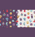 patterns set with funny creepy characters vector image vector image