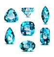 realistic 3d detailed colorful blue gemstones set vector image