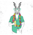 retro hipster animal rabbit with tropic cocktail vector image