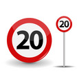 round red road sign speed limit 20 kilometers per vector image vector image