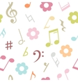 seamless pattern of music notes and flowers vector image