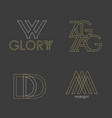 set of 4 logos abstract letters in a vector image
