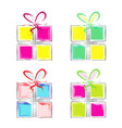 set of four colorful gift boxes vector image