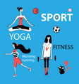 set of girl and sport vector image
