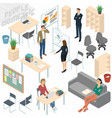 set of isometric business people vector image vector image
