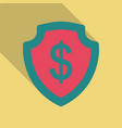 shield with dollar symbol in flat style with vector image