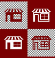 store sign bordo and white vector image