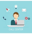 Technical support man operator icon flat vector image