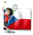 The flag of Czech Republic and the tennis player vector image vector image
