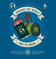 time to travel banner or poster with travel bag vector image vector image
