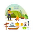 tourist with luggage hiking camping vacation vector image