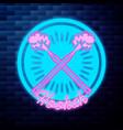 vintage hookah emblem glowing neon vector image vector image