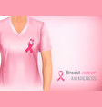 woman in pink shir with breast cancer ribbon vector image vector image