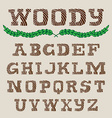 Woody - Hand Drawn Alphabets Handwriting striped vector image