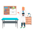 young woman doctor or vet in doctor s office vector image vector image