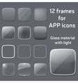 set of empty glass frames for app icons vector image