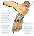 Hand made woman hands with accessories vector image