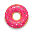 Pink glazed donut icon cartoon style vector image