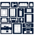 Flat office and home furniture silhouette icons vector image