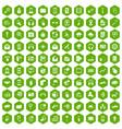 100 mobile icons hexagon green vector image vector image