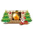 a happy santa near fireplace vector image vector image