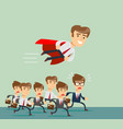 businessman with red cape fly pass vector image vector image