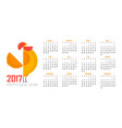 calendar for 2017 red rooster symbol 2017 vector image