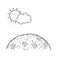 camp landscape with cute sun vector image vector image