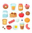 cartoon breakfast food bagel bacon jam egg vector image vector image
