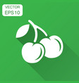 cherry berry icon cherries with long shadow sweet vector image vector image