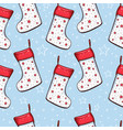 christmas socks seamless pattern vector image