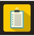 Clipboard checklist icon flat style vector image