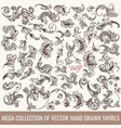 collection of hand drawn flourishes engraved style vector image vector image