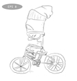 Cool cartoon cyclist on bike with glass2 vector image