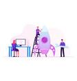 creative team rocket launch businesspeople set up vector image