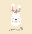 cute llama in autumn wreath on white background vector image