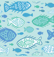 detailed fish doodles vector image vector image