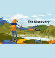 discovery banner around world vector image vector image