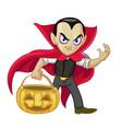dracula cartoon character hold halloween vector image vector image