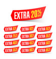 extra sale discount labels vector image vector image
