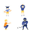 flat boy girl kids doing sports vector image vector image