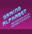 gaming stylized alphabet blue letters vector image