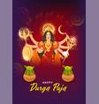 goddess durga maa with worship kalash pots vector image vector image