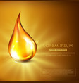 golden drop of oil golden serum vector image